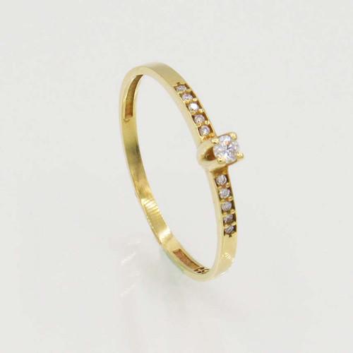 Anel de brilhantes ouro 18k solitário com 15 pts 11 diamantes
