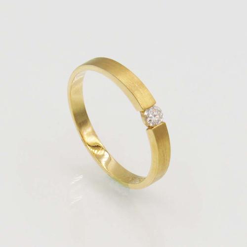 Anel de brilhantes ouro 18k solitário com 15 pts 1 diamante