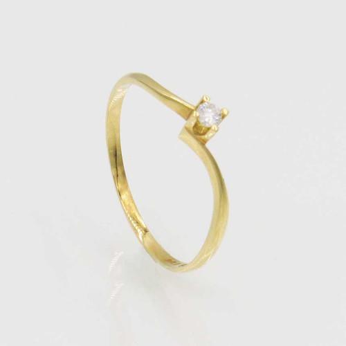 Anel de brilhantes ouro 18k solitário com 5 pts 1 diamante