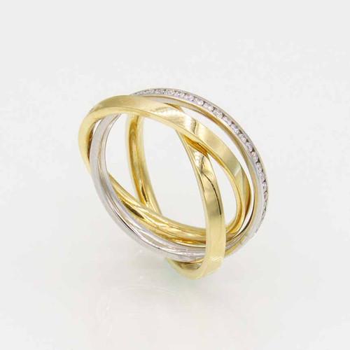 Anel de brilhantes ouro 18k triplo com 48pts 60 diamantes