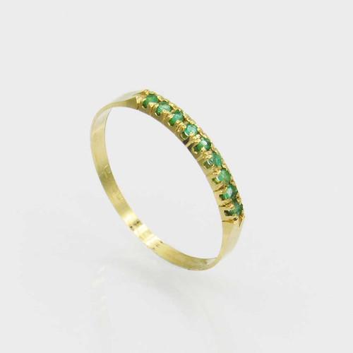 Anel de esmeralda com 9 pedras ouro 18k