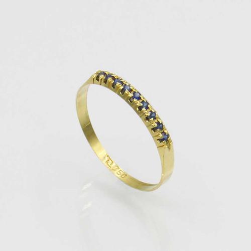 Anel de safira com 9 pedras ouro 18k