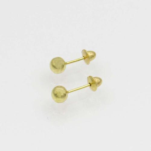 Brinco de ouro infantil 18k bola 3,70mm