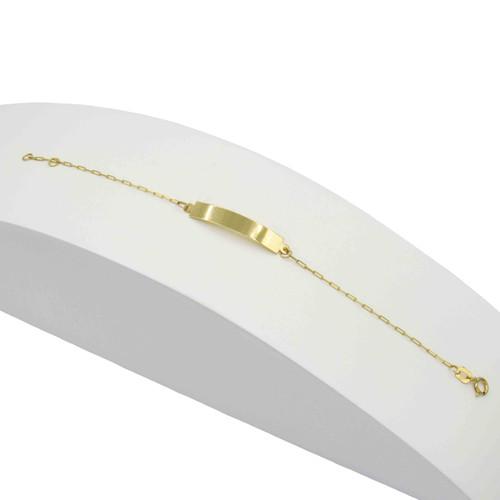 Pulseira de ouro 18k infantil com placa 13cm