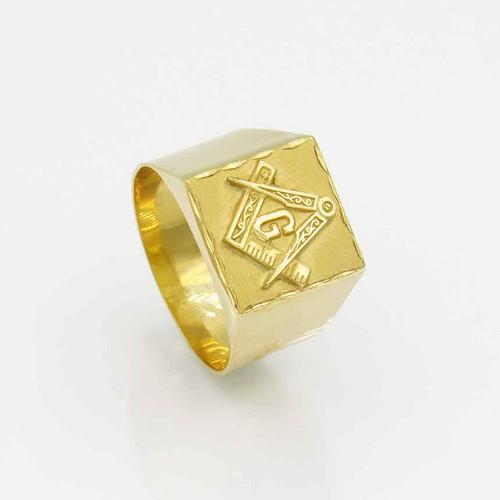 Anel maçonaria esquadro e compasso em ouro 18k quadrado