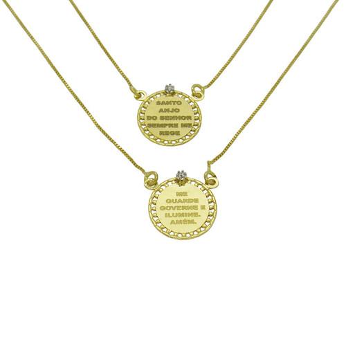 Escapulário de ouro 18k oval com brilhante 14,26 mm 60cm