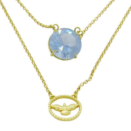 Escapulário de ouro 18k redondo com safira azul 10,6 mm 60cm