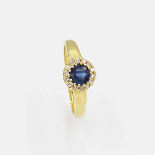 Anel de formatura de ouro 18k com safira azul e brilhante 7,85 mm