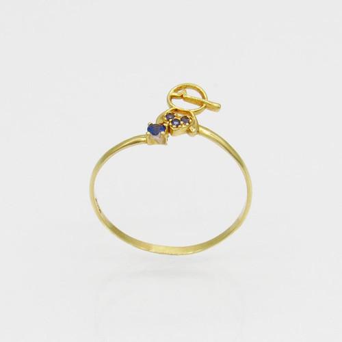 Anel de ouro 18k menino com zircônia azul 8,1 mm