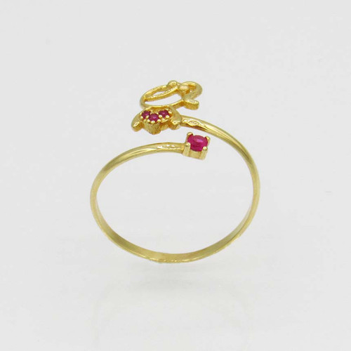 Anel de ouro 18k menina com rubelita 11,0 mm