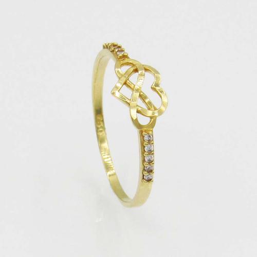 Anel de ouro 18k coração e infinito sobreposto 6,5mm