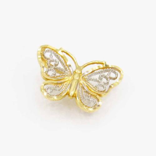 Pingente de ouro 18k borboleta vazada 2 cores 15,8 mm
