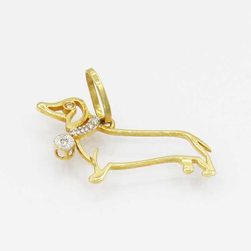 Pingente de ouro 18k cachorro com colar de brilhantes 14,8 mm