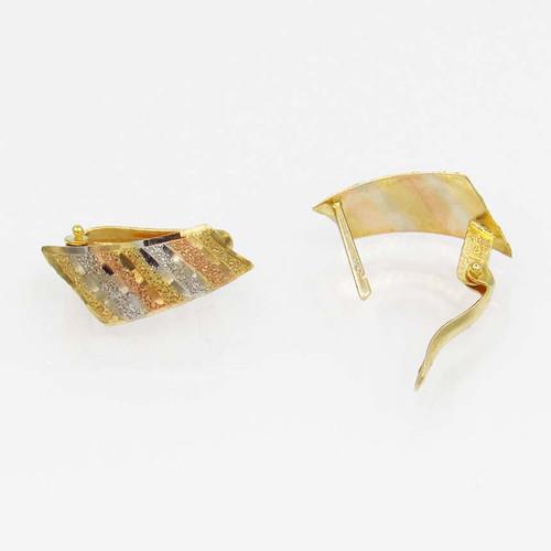 Brinco de ouro 18k 3 cores com fecho trava 16,7 mm