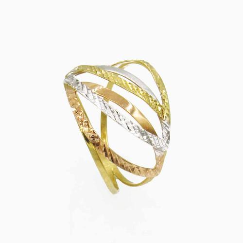 Anel de ouro 18k com 3 ovais vazado 3 cores 15,0 mm