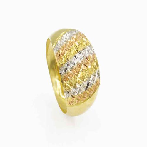 Anel de ouro 18k abaulado abacaxi 3 cores 9,8 mm