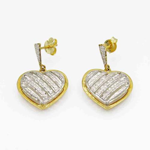 Brinco de ouro 18k coração com 6 fios trabalhados 25,5 mm