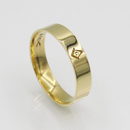 Anel de ouro 18k maçonaria esquadro e compasso sem borda 4,93mm