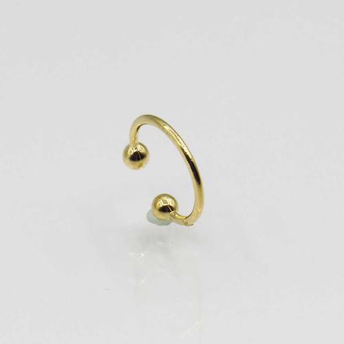 Piercing de orelha liso banhado em ouro 18k