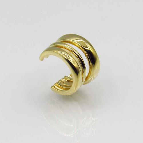 Piercing de orelha triplo liso banhado em ouro 18k