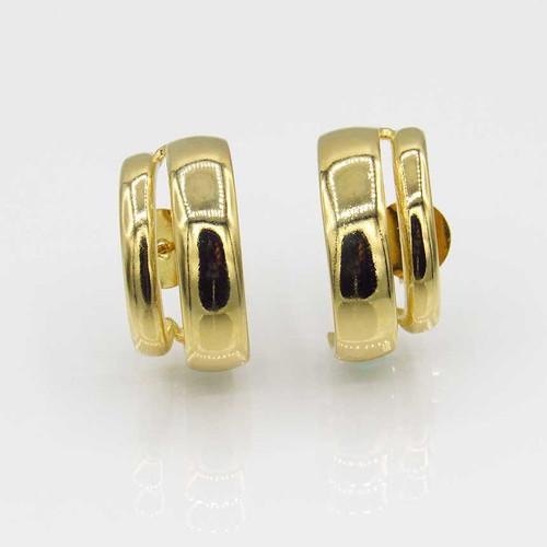 Brinco ear hook duplo liso banhado em ouro 18k