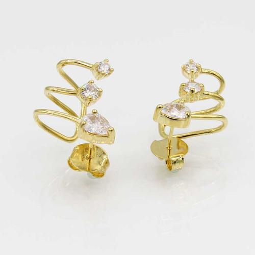 Brinco ear cuff aramado banhado em ouro 18k com 3 pontos de luz Zircônia