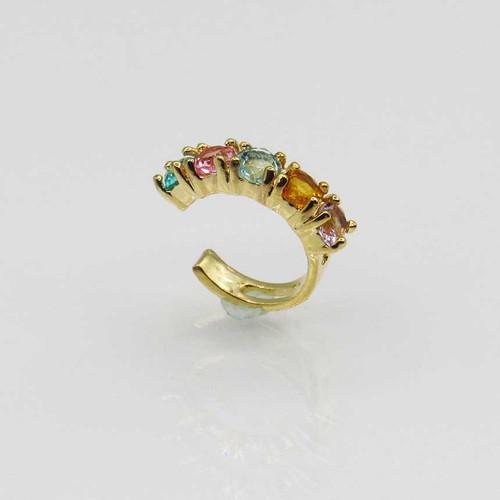 Piercing de orelha banhado em ouro 18k com 5 zirconias coloridas