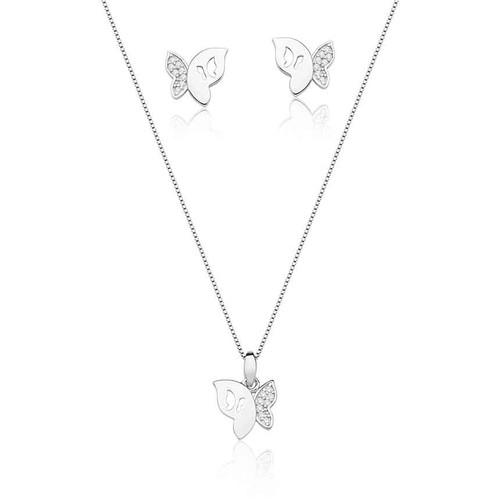 Brinco e corrente em prata 925 com banho de ródio com zircônia branca borboleta