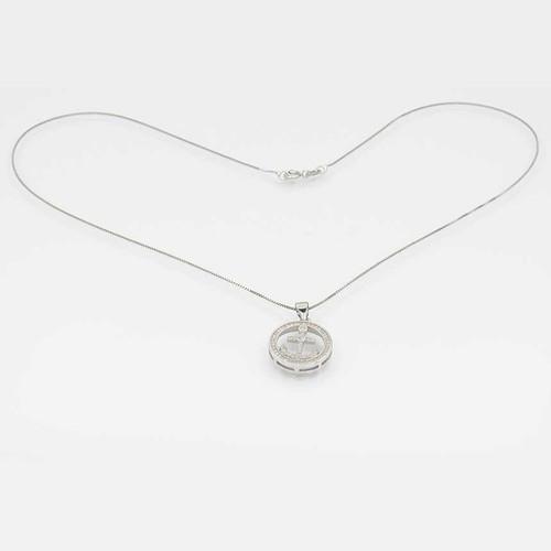 Corrente com pingente em prata 925 com banho de ródio com zircônia branca ancora