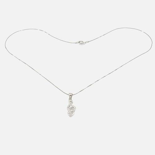Corrente com pingente em prata 925 com banho de ródio com zircônia branca nota musical