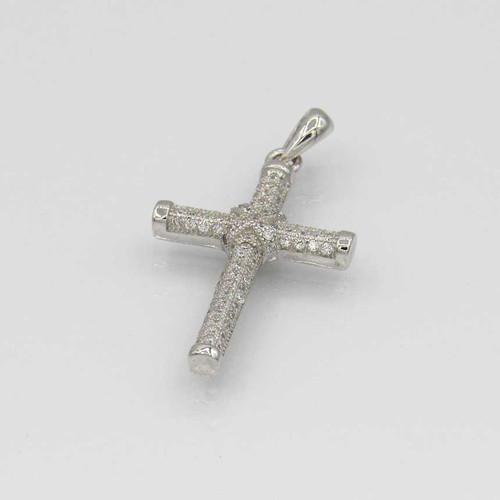 Pingente em prata 925 com banho de ródio com zircônia branca imagem Cruz