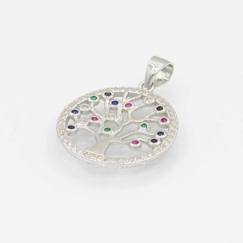 Pingente em prata 925 com banho de ródio com zircônia branca multicolor árvore da vida