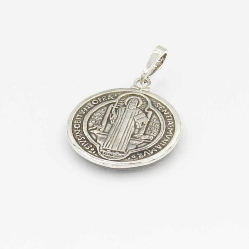 Pingente em prata 925 envelhecido liso imagem São Bento 24mm