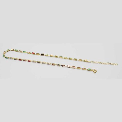Choker banhado em ouro 18k com zircônias coloridas em formato retangular 33cm + 5 cm