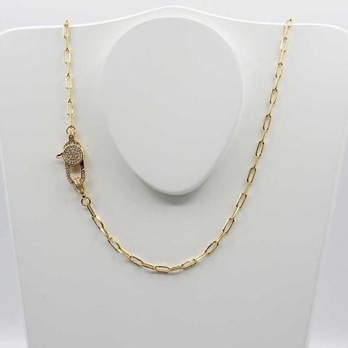 Corrente cartier alongada banhada em ouro 18k com fecho italiano cravejado com zircônias 45cm