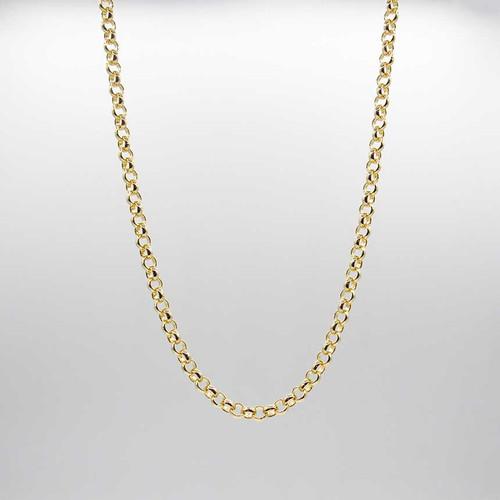 Corrente elo português banhado em ouro 18k com fecho lasgosta cravejado com zircônias brancas 45cm