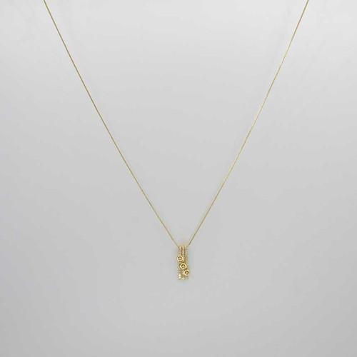 Corrente veneziana banhada em ouro 18k com pingente cravejada com zircônias