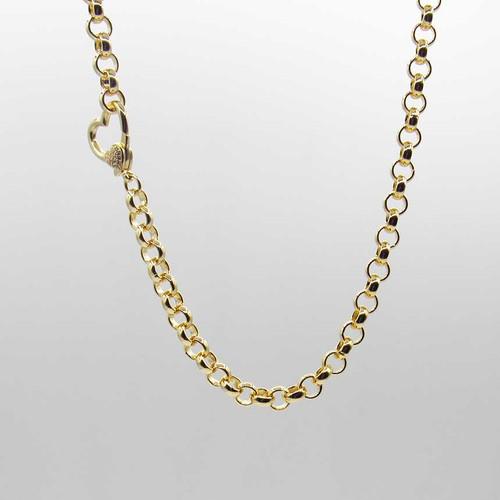 Corrente elo português banhado em ouro 18k com fecho coração cravejado de zircônias brancas 45cm