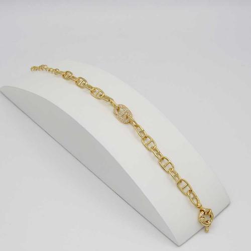 Pulseira corrente groumet com elo duplo banhada em ouro 18k  20cm + 5cm