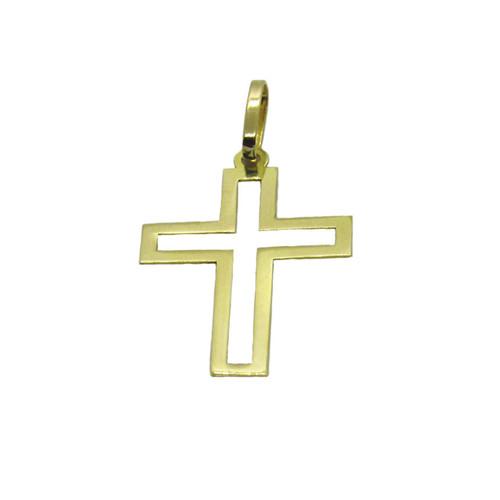 Pingente de ouro 18k cruz vazada 35mm