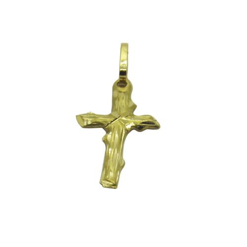 Pingente de ouro 18k cruz trabalhada 30mm