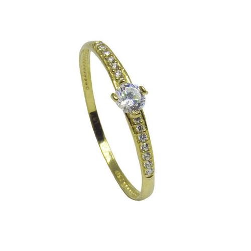 Anel de ouro 18k safira branca 3,98mm