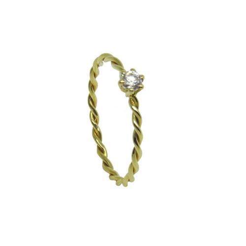 Anel de ouro 18k aro trançado safira branca