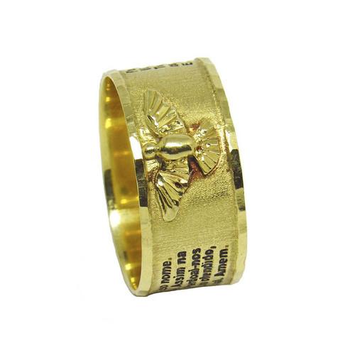 Anel de ouro 18k pai nosso com divino espírito santo