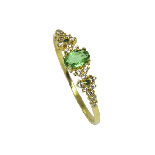 Anel de ouro 18k com zirconia verde e branca