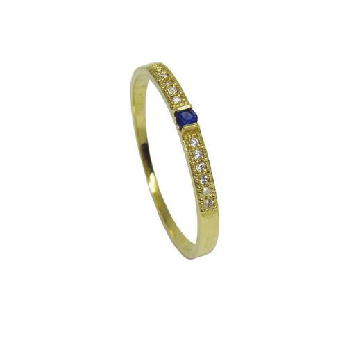 Anel de ouro 18k com zirconia azul e branca
