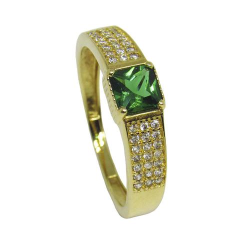 Anel de ouro 18k com zirconia verde e branca 5,95mm