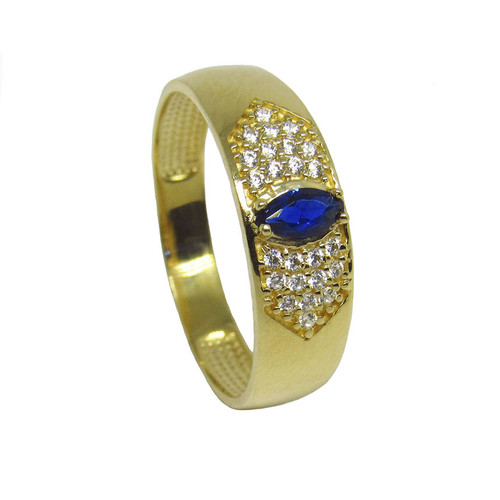 Anel de ouro 18k com zirconia azul e branca 5,73mm