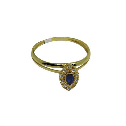 Anel de ouro 18k com zirconia azul e branca 9,32mm
