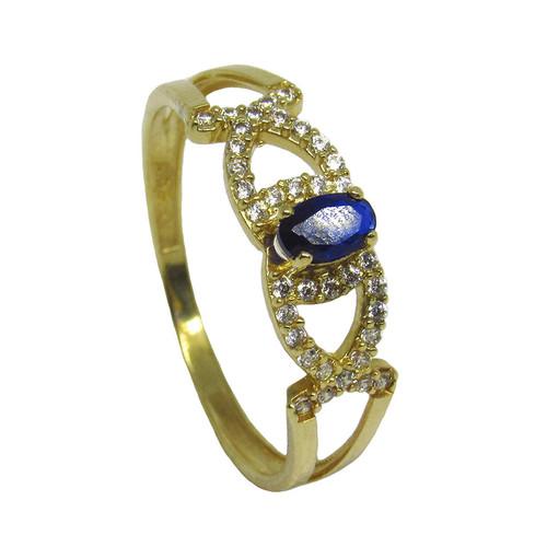 Anel de ouro 18k com zirconia branca e azul 5,69mm